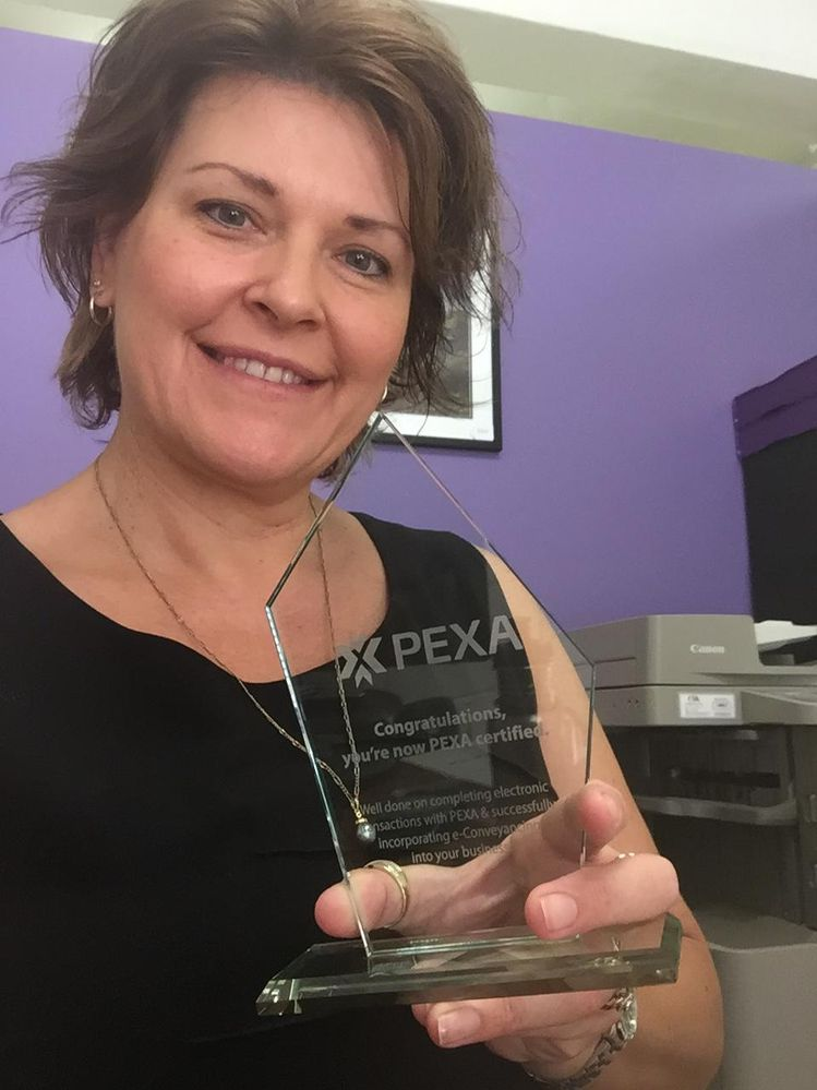 Very excited to receive my PEXA certified trophy!