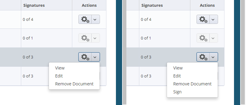 Menu options: Normal user vs user with signing privileges