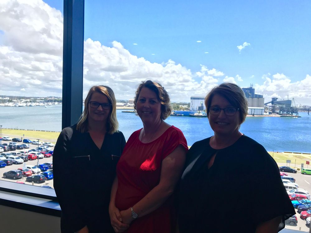 Selina, Nicole and LJ in their great new office