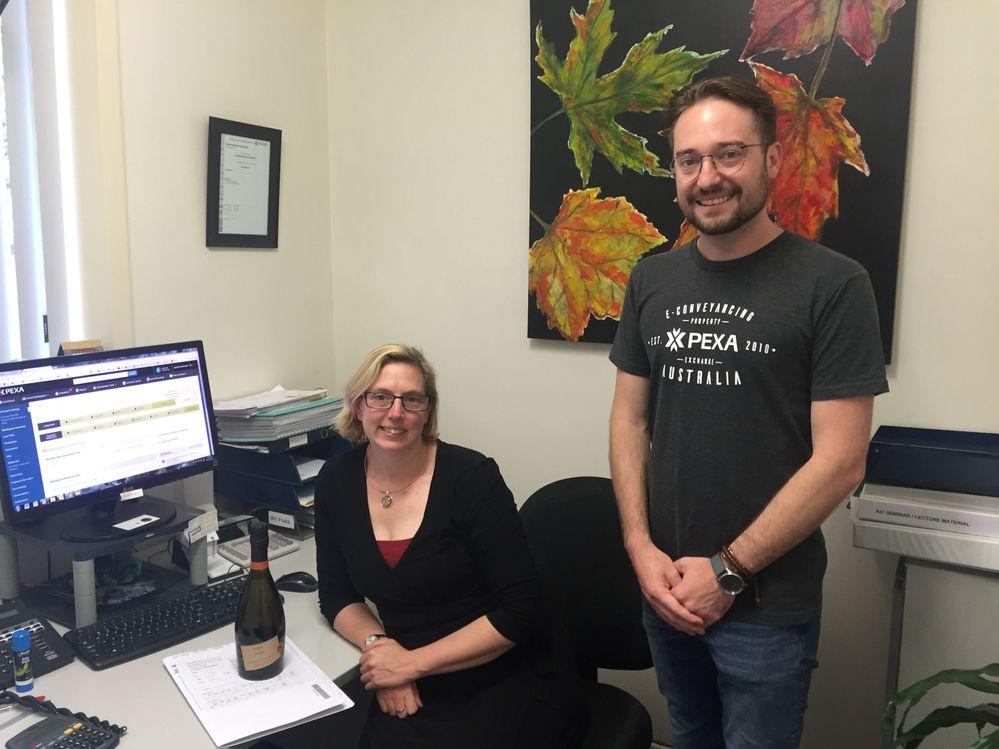 Jacinda Hutchinson from Trevor Tapp & Associates and Matt Kelly, PEXA Direct