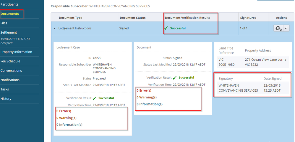 Select the document verification result or signatures to expand the screen for further information