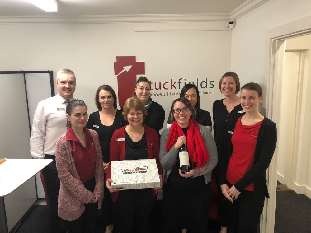 The Tuckfields team enjoying their well deserved morning tea and a drink for Friday night