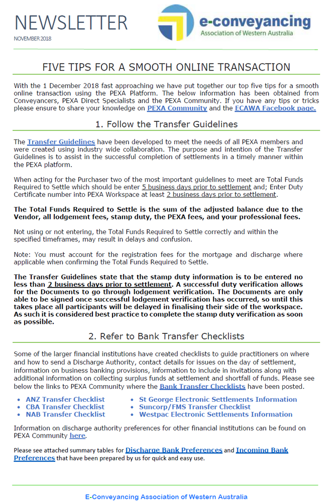 Page one - ECAWA newsletter