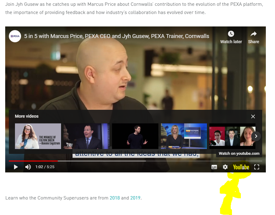Continue to watch in YouTube - opens new tab