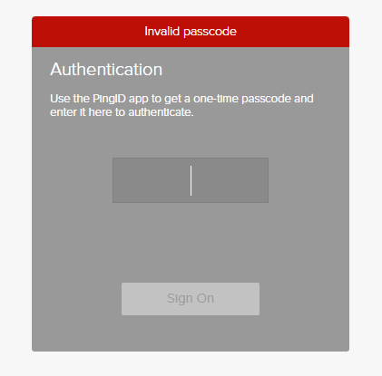 Invalid passcode