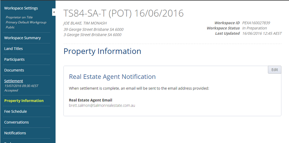 Property Information screen