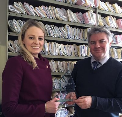 Steve at Boothby & Boothby Solicitors receiving their PEXA Certified trophy.